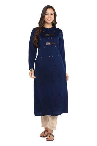 Womens Mandarin Collar Printed Knitted Kurta