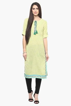 FUSION BEATS Womens Tie Up Neck Stripe Kurta