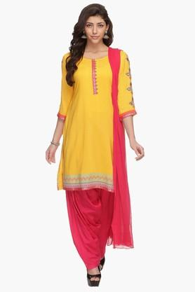 HAUTE CURRY Womens Embroidered Patiala Suit - 202315962