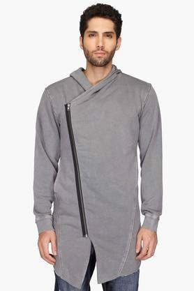 VETTORIO FRATINIMens Hooded Slub Asymmetric Jacket