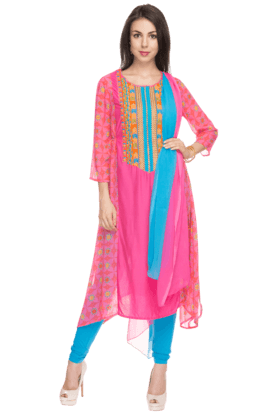 IMARA Womens Printed Churidar Set