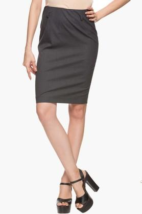 ARROW Womens Slub Knee Length Pencil Skirt  ...