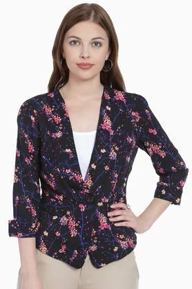 ZINK LONDON Womens Collared Printed Jacket (Buy 2 And Get Leather Pouch Free)