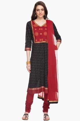 STOP Womens Printed Embroidered Churidar Suit