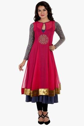 IRA SOLEIL Women Chiffon Printed Anarkali Kurta With Inner