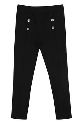 Girls 2 Pocket Solid Pants