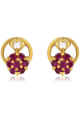 MAHIMahi Gold Plated Divine Earrings With CZ & Ruby Stones For Women ER1193505G