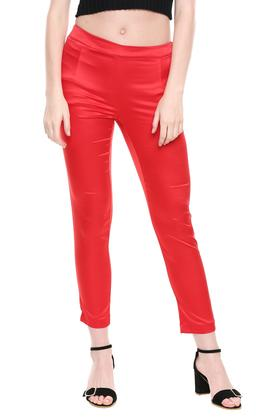 Womens Solid Shiny Pants