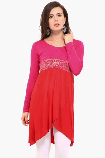 Womens A Line Fit Colour Block Kurta