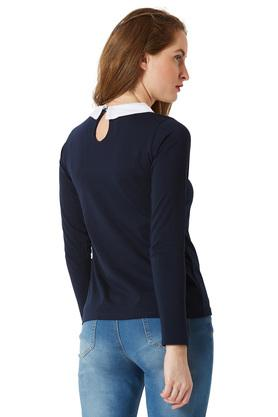 Womens Peter Pan Collar Solid Top