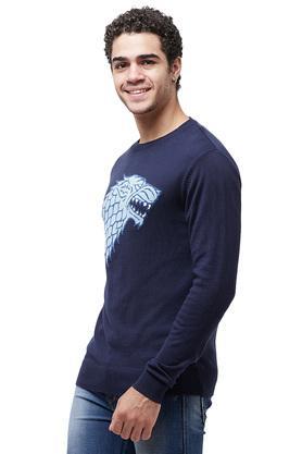Mens Round Neck Printed Sweater