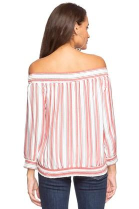 Womens Off Shoulder Neck Striped Top