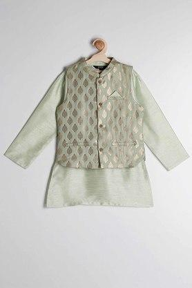 STOP - Green Kurta Pyjama Jacket Set - 2