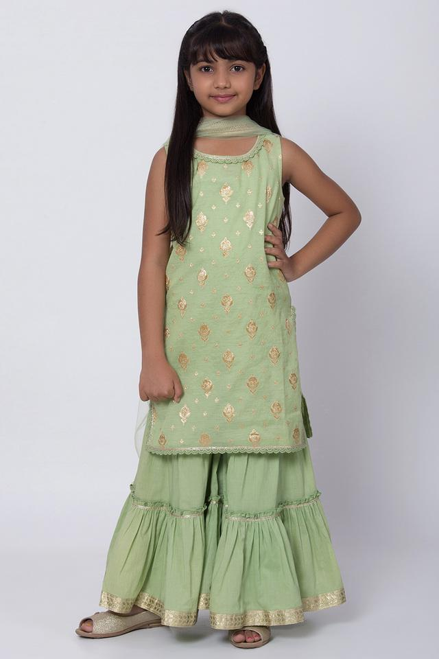 BIBA GIRLS - Green Salwar Kurta Set - Main