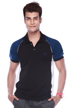 BLACK PANTHER Mens Short Sleeves Regular Fit Solid Polo T-Shirt
