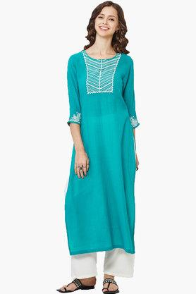 GLOBAL DESI Women's Embroidered Green Kurta