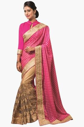 DEMARCAWomens Check Zari Embroidered Saree