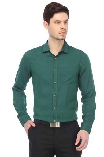 Mens Slim Collar Slub Formal Shirt