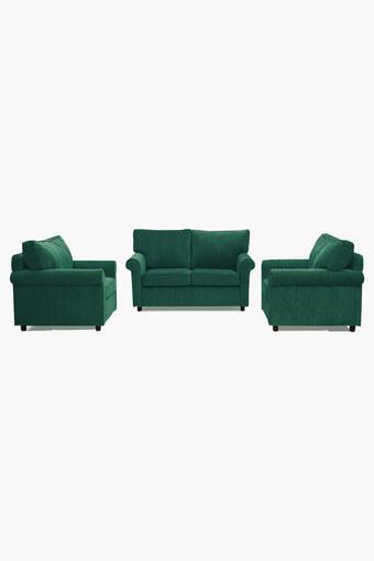 Calypso Green Fabric Sofa (2-1-1 Sofa Set)