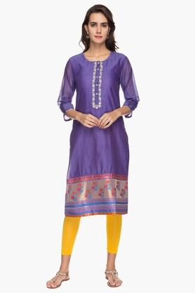 BIBA Womens Round Neck Embroidered Printed Kurta