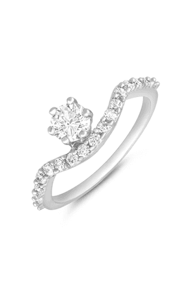 MAHI Rhodium Plated Bewitching Finger Ring With CZ For Women FR1100638R