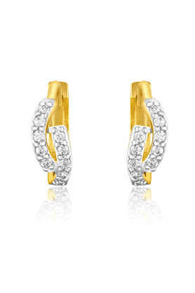 MAHI Mahi Gold Plated Curvy Glamour Bali Earrings With CZ Stones For Women ER1109351G