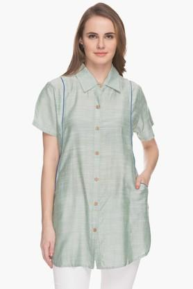 BOHEMYAN BLUE Womens Collared Stripe Shirt Kurta