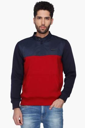 T-BASE Mens Colour Block Band Collar Sweatshirt - 201394636