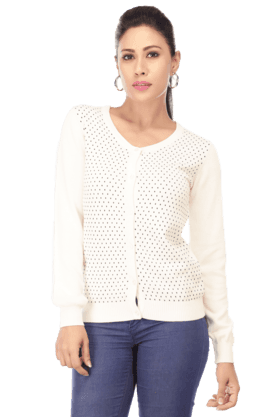 WILLS LIFESTYLE Women Cotton Dotted Sweater
