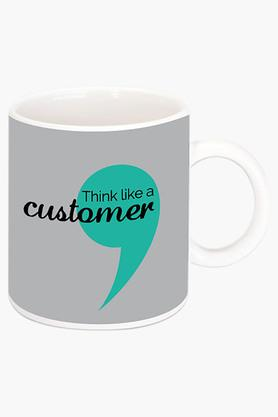 CRUDE AREA Think Like A Customer Printed Ceramic Coffee Mug  ...