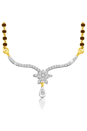 SPARKLES 18Kt Gold Mangalsutra With Diamond Pendant Along With Gold Plated Silver Chain And Black - 7499799