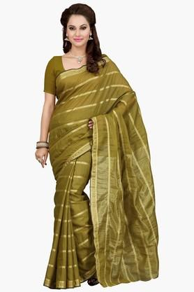 ISHIN Womens Stripe Mercerised Silk Saree