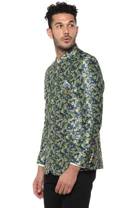 Mens Mandarin Collar Floral Print Nehru Jacket