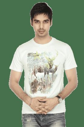 Men Short Sleeves Slim Fit Round Neck Printed T-Shirt