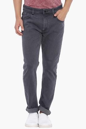 BLUE SAINT Mens Dark Grey Solid Mid Rise Slim Fit Jeans