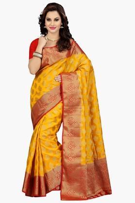 ISHINWomens Golden Weave Poly Silk Saree - 201774589