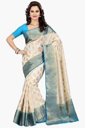 ISHINWomens Golden Weave Poly Silk Saree - 201774606