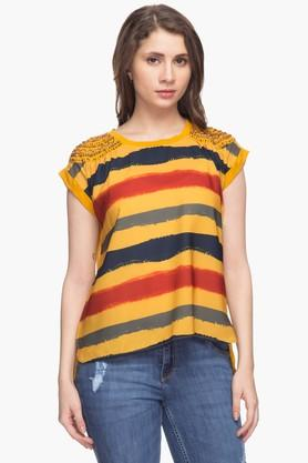 Womens Round Neck Embellished Stripe Top