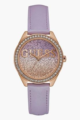 GUESS Rose Gold Tone Genuine Leather Glitter Girl Watch W0823L11