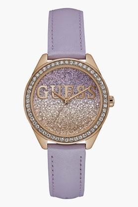 GUESSRose Gold Tone Genuine Leather Glitter Girl Watch W0823L11