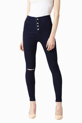 Womens Skinny Fit High Rise Coated Jeans