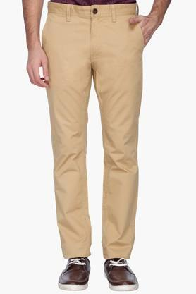 INDIAN TERRAIN Mens Slim Fit Solid Casual Chinos