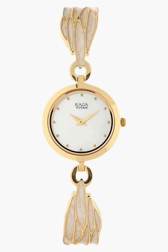 Womens White Dial Stainless Steel Strap Watch