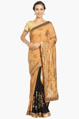 Womens Georgette Colour Block Saree With Blouse Piece - 202531431