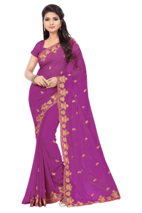 DEMARCAWomens Embroidered Saree (Buy Any Demarca Product & Get A Pair Of Matching Earrings Free) - 201100280_9654