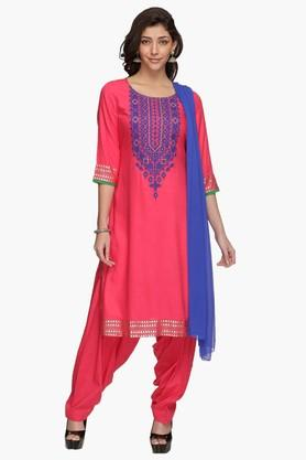 HAUTE CURRY Womens Embroidered Patiala Suit