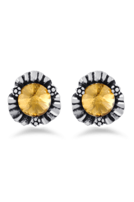 JAZZ Antique Silver Embossed Flower Shape Earrings With Gold Stone Stud