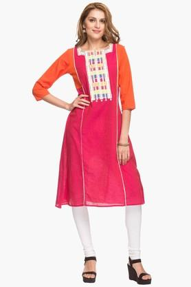 IMARA Womens Square Neck Colour Block Kurta