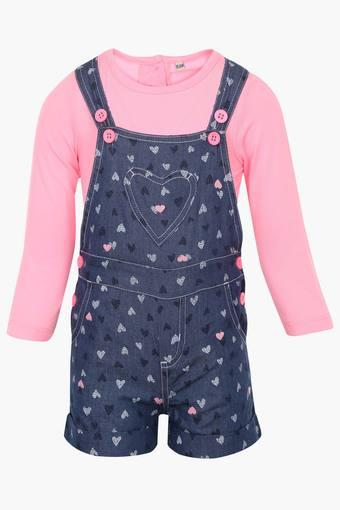 Girls Cotton Printed Dungarees
