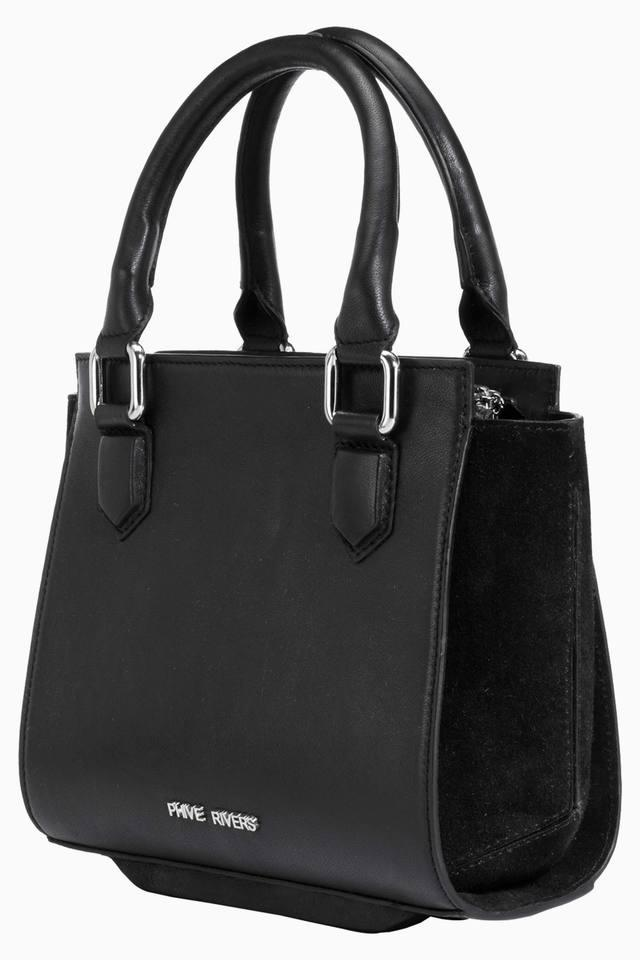 Womens Leather Zipper Closure Tote Handbag